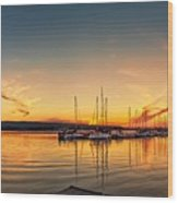 Harbour At Sunset Wood Print