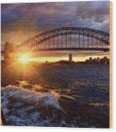 Harbour Bridge Sunset By Kaye Menner Wood Print