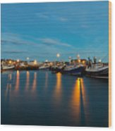 Harbour Lights At Dawn Wood Print