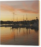 Harbour Sun Set Wood Print