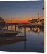 Harbour Town Lighthouse Sunset Wood Print