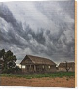 Hard Days - Abandoned Home On West Texas Plains Wood Print