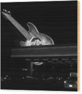 Hard Rock Cafe Sign 2 B-w Wood Print