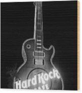 Hard Rock Cafe Sign B-w Wood Print