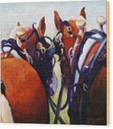 Hardware Ranch Belgian Team Draft Horses Oil Painting Wood Print