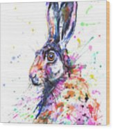 Hare In Grass Wood Print