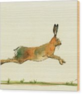 Hare Running Watercolor Painting Wood Print