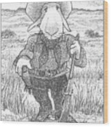 Harecowboy Wood Print
