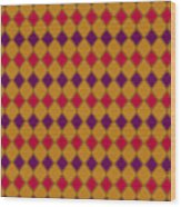 Harlequin Gold Purple Coral Wood Print