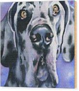 Harlequin Great Dane Wood Print