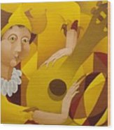 Harlequin With Lute  2003 Wood Print
