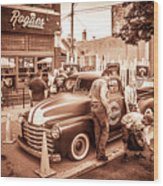 Harley 110 In Downtown Milwaukee Wood Print