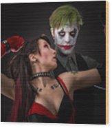 Harley And The Joker Wood Print