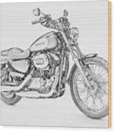 Harley Davidson 1200 Custom Wood Print