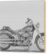 Harley-davidson Fatboy Motorcycle Art Print Wood Print