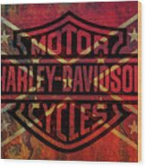 Harley Davidson Logo Confederate Flag Wood Print