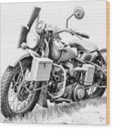 Harley Davidson Military Motorcycle Bw Wood Print