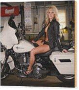 Harley Davidson Motorcycle Babe Wood Print