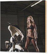 Harley Davidson Motorcycle Bikini  Wood Print