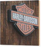 Harley Davidson Sign In West Jordan Utah Photograph Wood Print