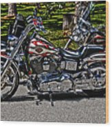 Harley In Hdr Wood Print