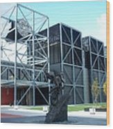 Harley Museum And Statue Wood Print