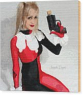 Harley Quinn And Pistol Wood Print