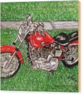 Harley Red Sportster Motorcycle Wood Print