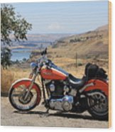 Harley With Columbia River And Mt Hood Wood Print