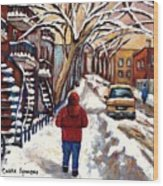 Winter Walk After The Snowfall Best Montreal Street Scenes Paintings Canadian Artist Paysage Quebec Wood Print