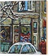 Achetez Les Meilleurs Scenes De Rue Montreal St Henri Cafe Original Montreal Street Scene Paintings Wood Print