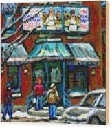 Achetez Les Meilleurs Scenes De Rue Montreal Boulangerie St Viateur Original Montreal Street Scenes  Wood Print
