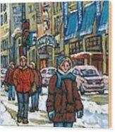 Achetez Les Meilleurs Scenes De Rue Montreal Best Original Art For Sale Montreal Streets Paintings Wood Print
