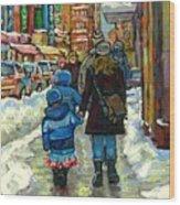 Exceptional Canadian Artist Winter Scene Paintings Downtown Montreal Achetez Scenes De Quebec  Wood Print