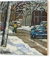 Canadian Artist Winter Scenes Original Paintings Quebec Streets Achetez  Montreal Art Online Wood Print