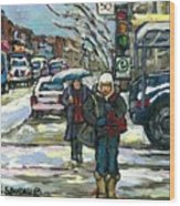 Best Canadian Winter Scene Paintings Original Montreal Art Achetez Scenes De Quebec Cspandau Wood Print