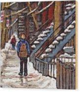 Canadian Art Winter Streets Original Paintings Verdun Montreal Quebec Scenes Achetez Les Meilleurs Wood Print