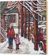 Canadian Winter Scene Paintings Original Art Verdun Montreal Achetez Scenes De Rue Quebec C Spandau  Wood Print