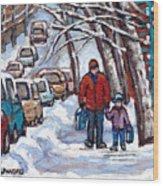 Paysages De Verdun Quebec A Vendre Original Verdun Montreal Winter Staircase Street Scene Paintings  Wood Print