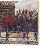 Paysages De Quebec Petits Formats A Vendre Hockey Rink Paintings Psc Original Montreal Street Scenes Wood Print