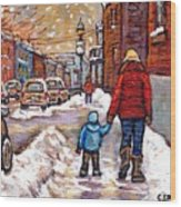 Original Montreal Street Scene Paintings For Sale Winter Walk After The Snowfall Best Canadian Art Wood Print