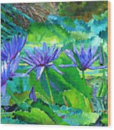 Harmony Of Purple And Green Wood Print