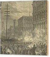 Harpers Sixth Regiment Fighting Railroad Strikers Wood Print