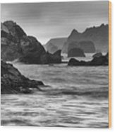 Harris Beach Oregon Monochrome Wood Print