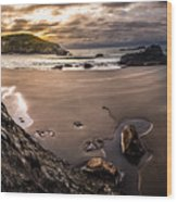 Harris Beach Sunset Wood Print
