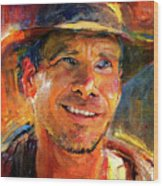Harrison Ford Indiana Jones Portrait 3 Wood Print