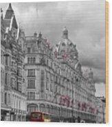 Harrods Of Knightsbridge Bw Hdr Wood Print