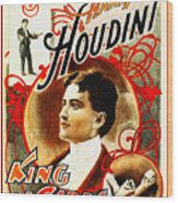 Harry Houdini - King Of Cards Wood Print