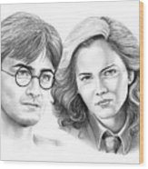 Harry Potter And Hermione Wood Print