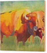 Hartsel Bison Family In Springtime Wood Print